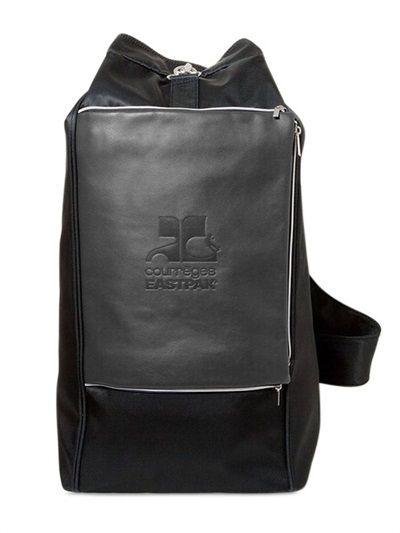 Menswear black leather bag by Courrèges