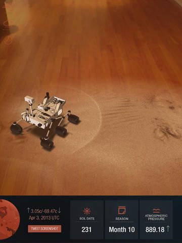 Experience on real time weather on Mars with this Augmented Reality App built as part of our solution to the Space Apps Challenge: Wish You Were Here.
