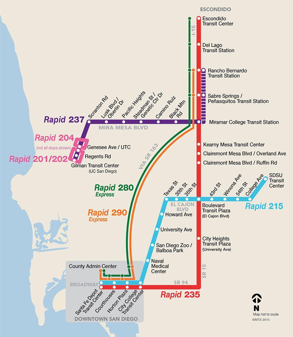 San Diego Ca Usa West Coast Vacation Public Transport Map
