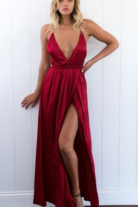 Sexy V Neck Long Dark Red Prom Dress Evening Dress With Criss Cross