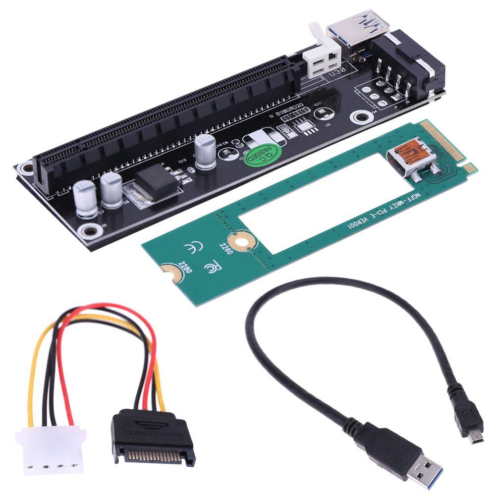 USB3.0 Mini PCI-E to PCI-E PCI 1x to 16x Extender Converter Riser ...