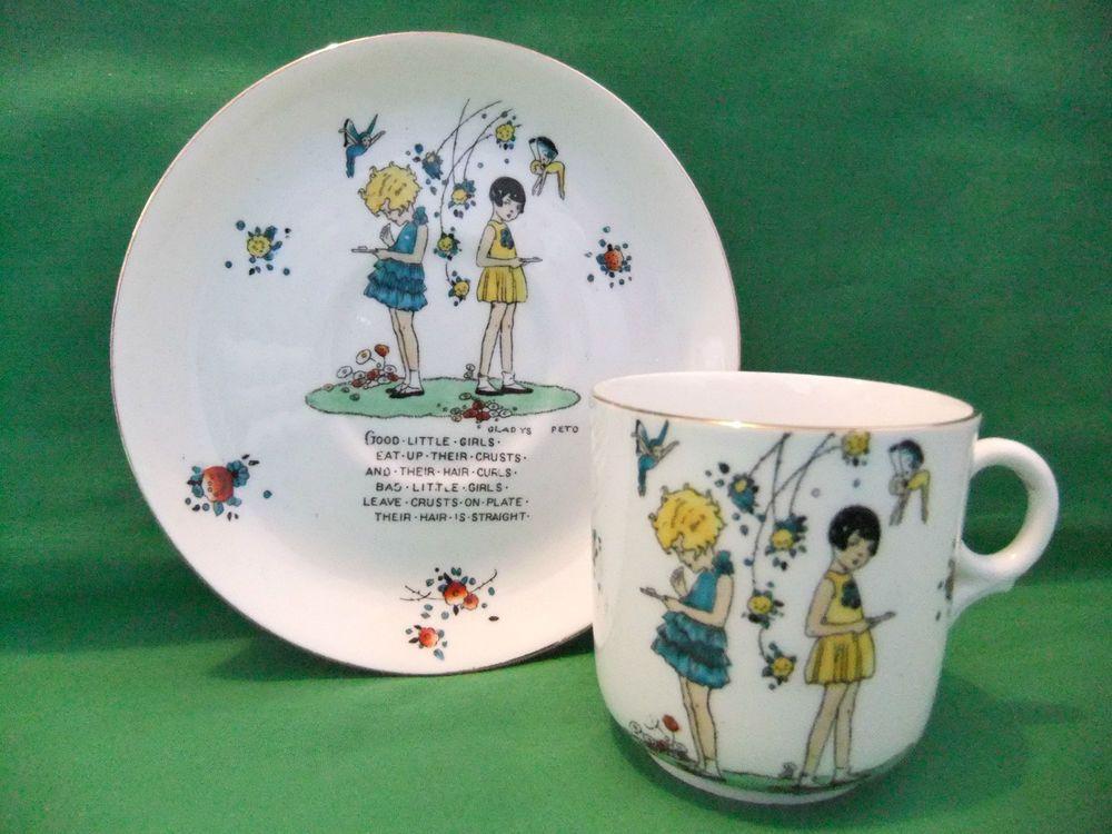 Tuscan China Art Deco Gladys Peto Cup Saucer Children S Nursery