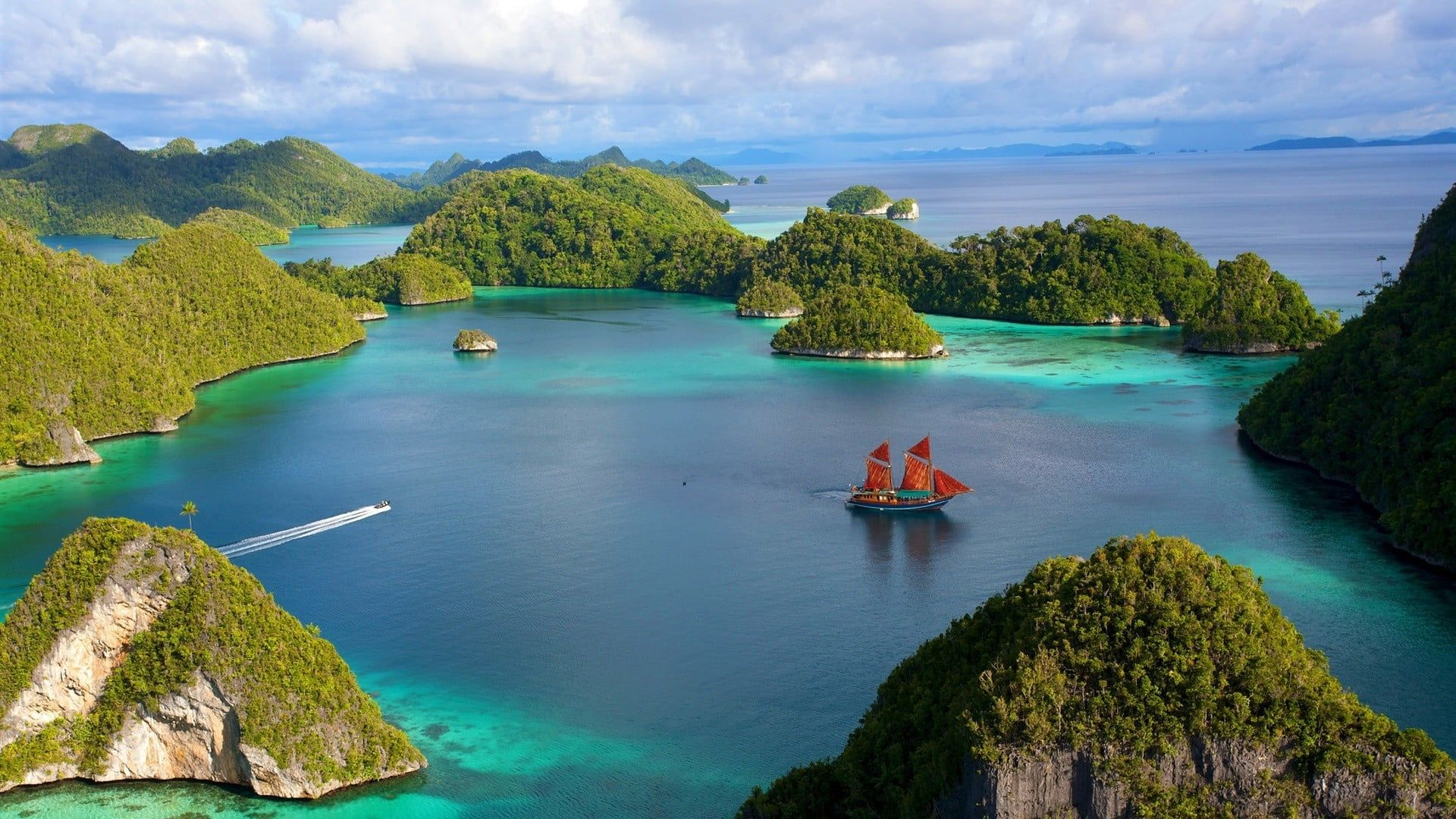 Green Mountains Under White Cloudy Sky Island Sea Boat Mountains Nature Landscape Water Trees Indonesia Forest Nature Wallpaper Sky Best Scuba Diving