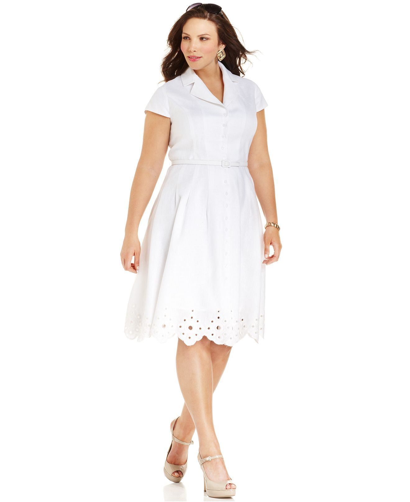 Jones New York Plus Size Dress, Short-Sleeve Shirt Dress - Plus Size ...