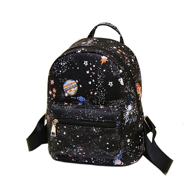 2f1fdf21a Moda Estrela Espaço Universo Impressão Sacos De Escola Para Adolescentes  Mochila Pequena Mochila Preta de Couro Das Mulheres Mochila Escolar