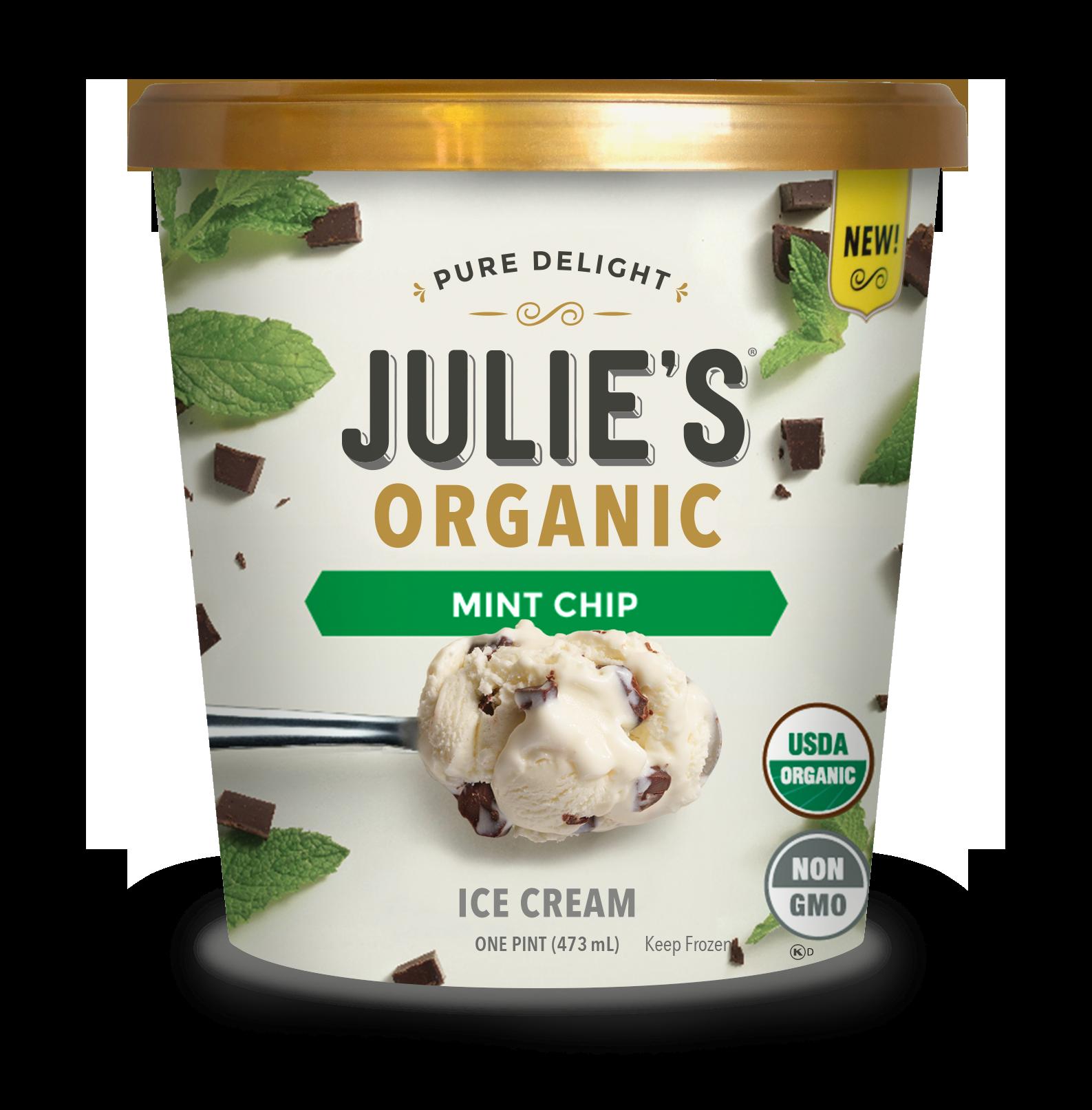 Mint Chip Julie S Organic Ice Cream Organic Ice Cream Ice Cream Packaging Ice Cream Design