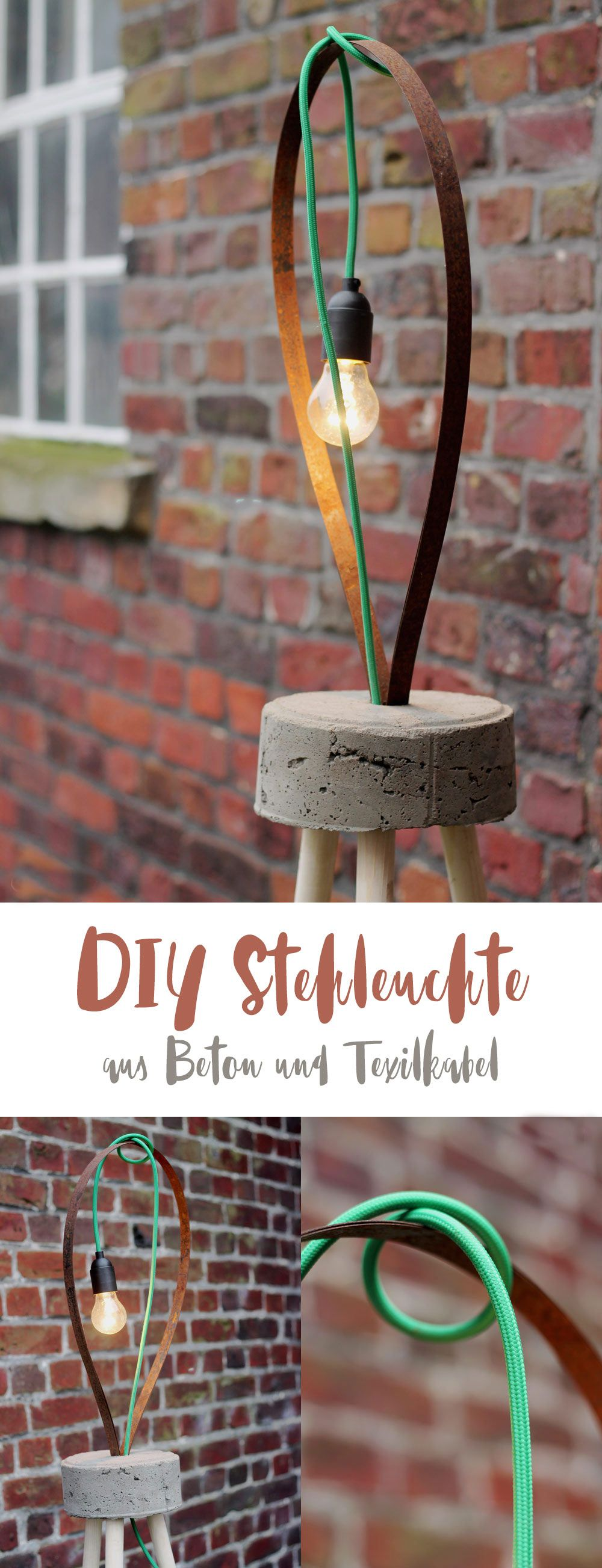 diy lampe mit textilkabel und beton diy stehleuchte diy m bel und heimwerken pinterest. Black Bedroom Furniture Sets. Home Design Ideas