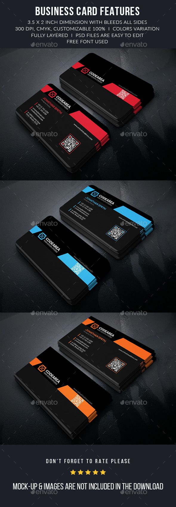 Codearea Modern Business Cards - Business Card Template PSD. Download here: http://graphicriver.net/item/codearea-modern-business-cards/12498987?s_rank=1763&ref=yinkira