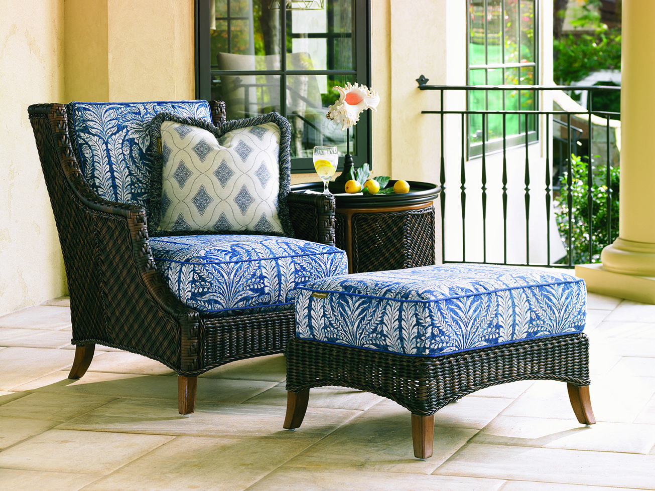 Tommy bahama island estate lanai collection outdoor wicker lounge chair and ottoman