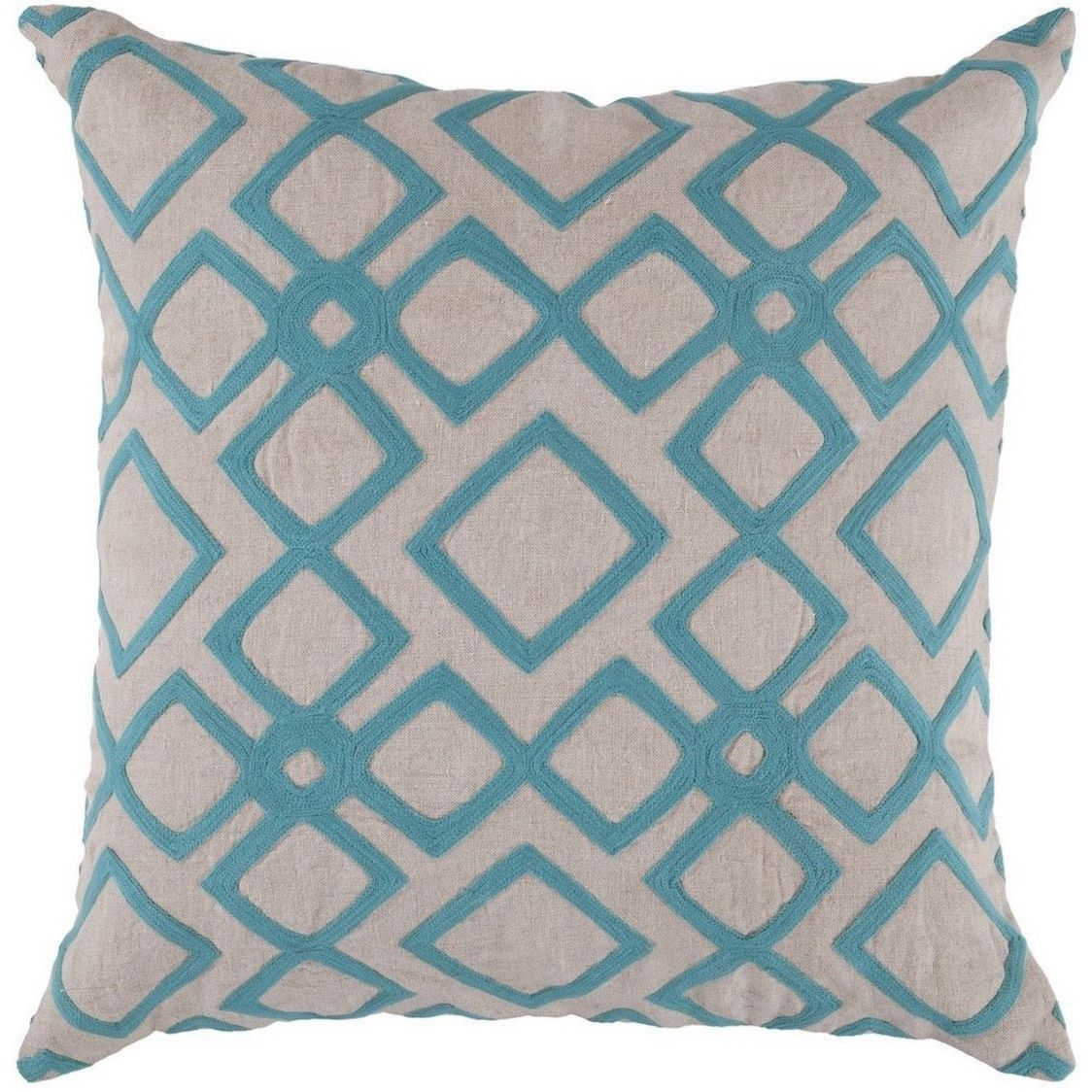 Decorative Rothwell 20-inch Trellis Pillow Cover (Blue/Off-White ...