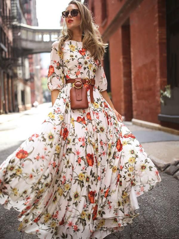 ae723139e872 Be A Romantic Girl--Cute Floral Half Sleeves Maxi Dress Feature Floral