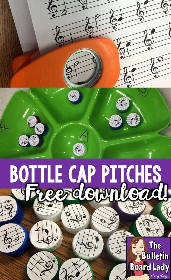 Dip Tray Workstations Bottle Cap Pitches is part of Music education games, Music education activities, Music centers elementary, Music education, Elementary music classroom, Middle school music - Create a very inexpensive workstation to practice pitch names on the treble clef staff with a dip tray and this free download  FUN for your elementary music classroom
