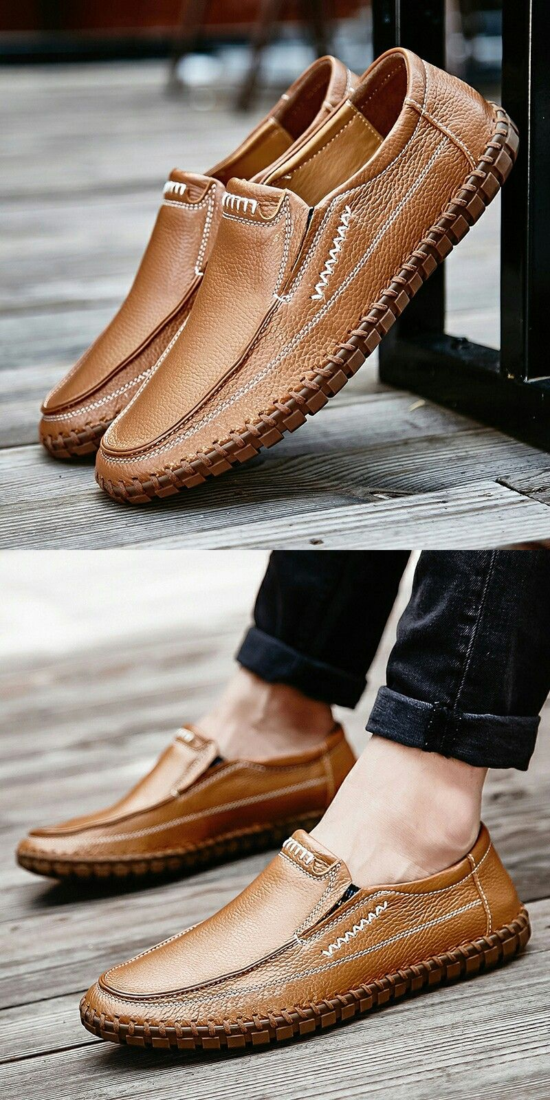 d2bd43284035f Amazon Handmade Summer Men's Leather Shoes Casual Slip On Driving Loafers  Stitching Shoes
