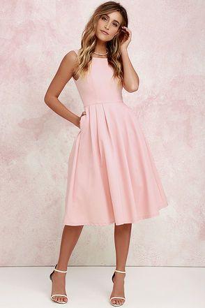 Ambitious Beauty Peach Midi Dress At Lulus