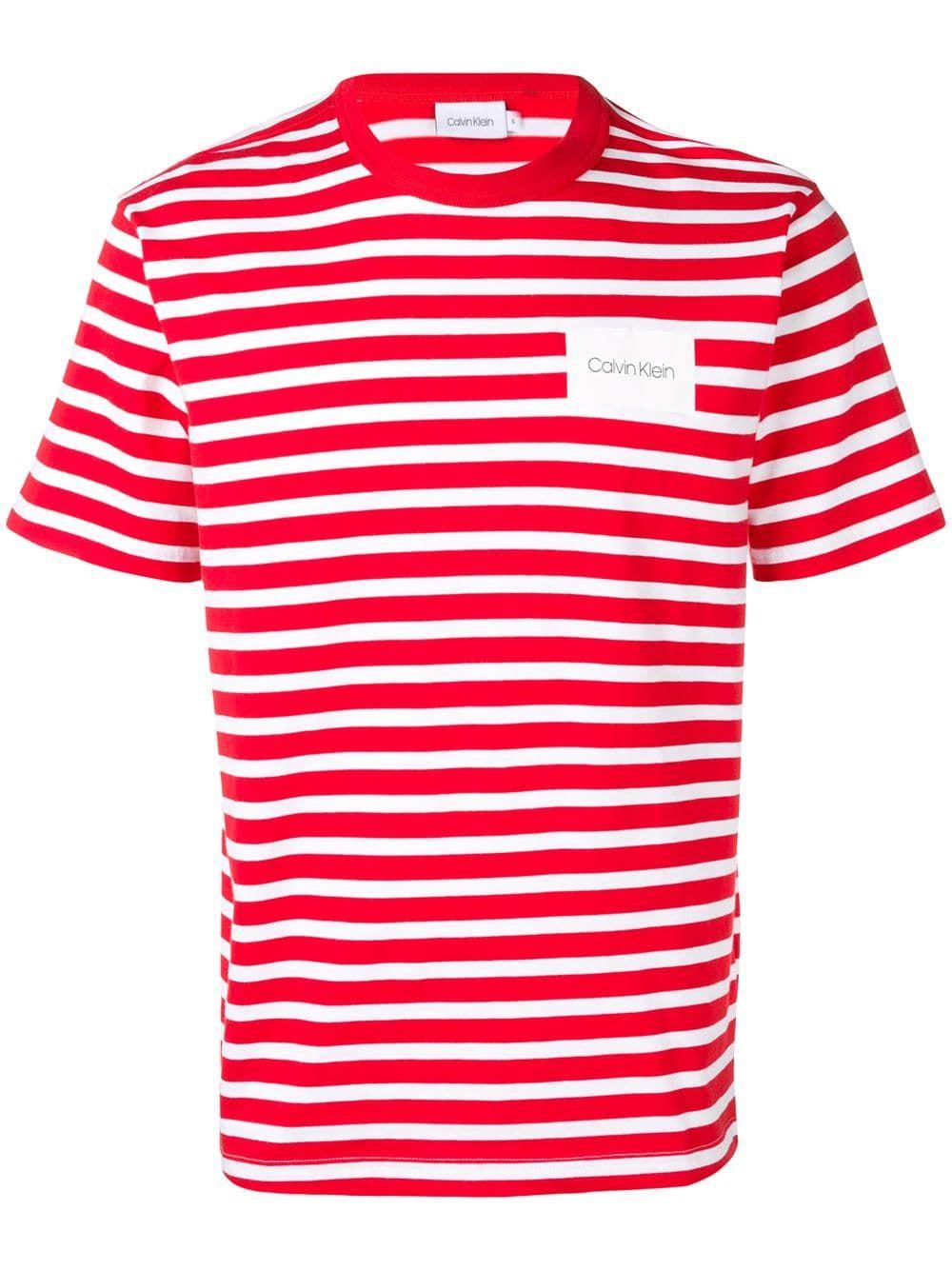 b7b7667e2c4c Calvin Klein striped T-shirt - Red in 2019 | Products | Calvin klein ...