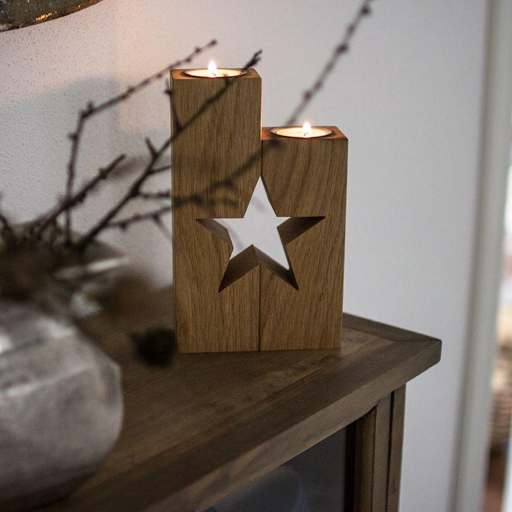 Doppelsaule Mit Stern Und Teelichteinsatz Eiche Holzdeko Weihnachten Weihnachtsdeko Holz Und Teelichthalter