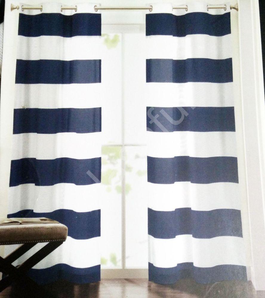 New Hillcrest Navy Blue White Striped Window Curtain Panels 52x96 Pair  Grommet