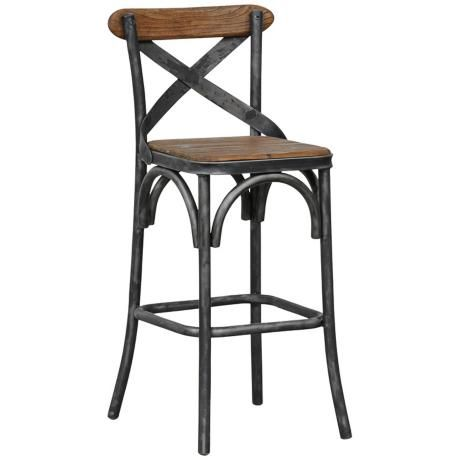 Powell Wood And Metal Counter Stool   I Could Find Red Cushions To Put On  Them