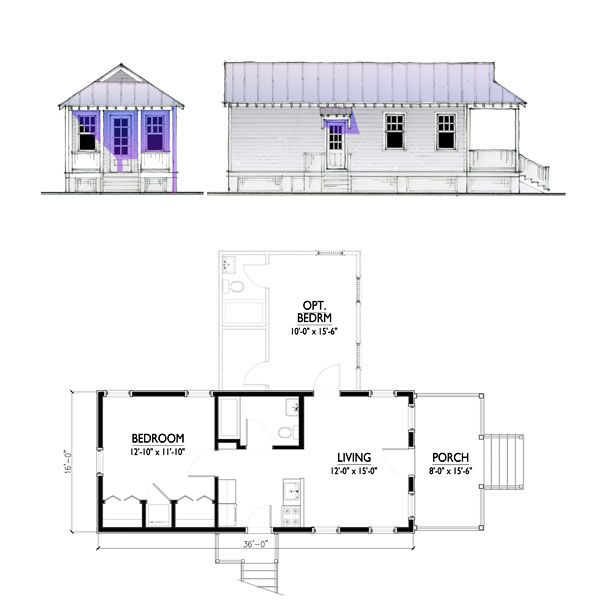 The Katrina Cottage Model 576 Cottage Floor Plans House Floor Plans Cottage Kits