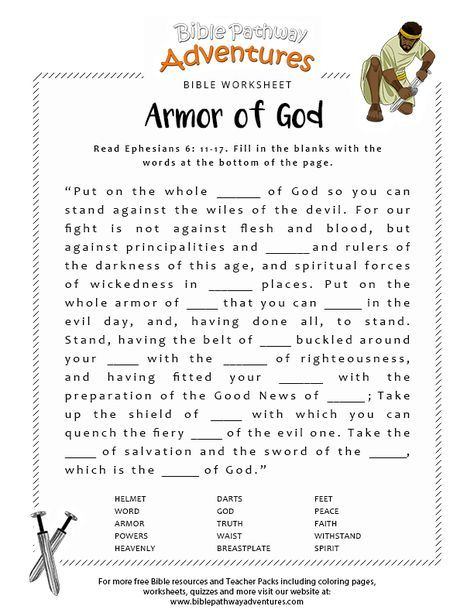 Armor Of God Bible Worksheet Bible Lessons For Kids Kids Sunday