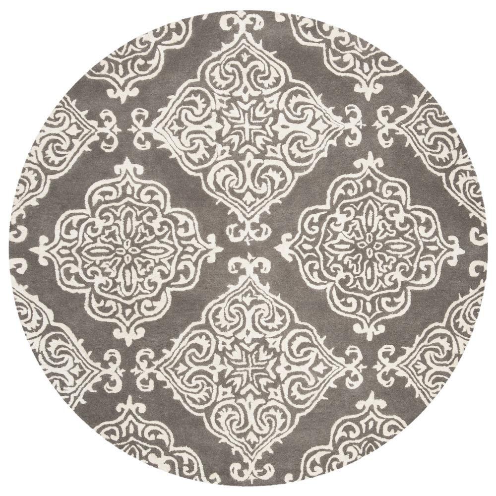 Safavieh Glamour Dark Gray Ivory 6 Ft X 6 Ft Round Area Rug