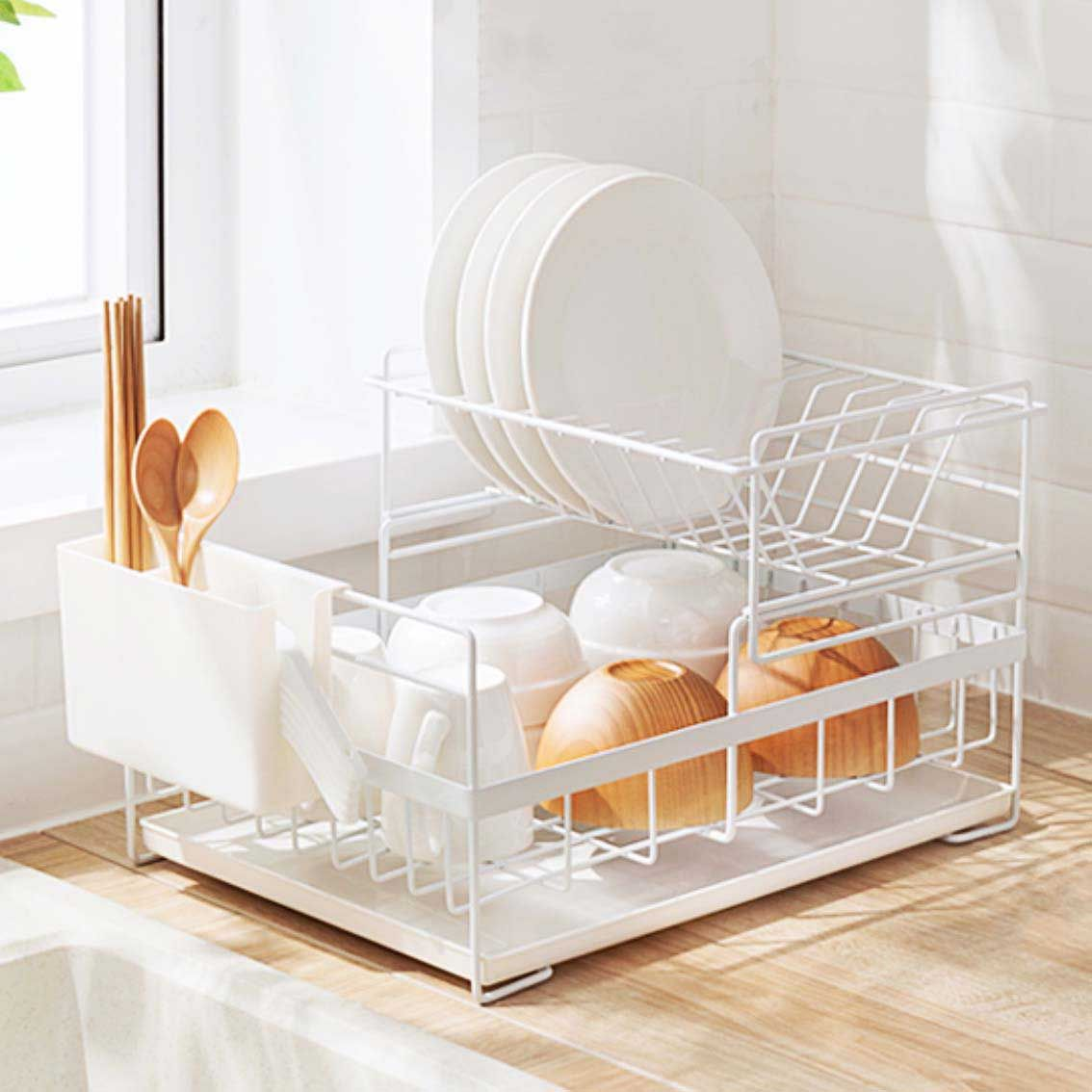 Dual Layer Dish Rack Drainer Kitchen
