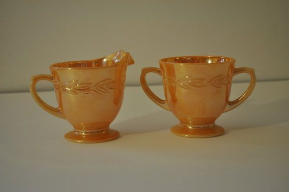 Vintage Cream and Sugar Set Fire King Peach by TinPanValley, $9.00