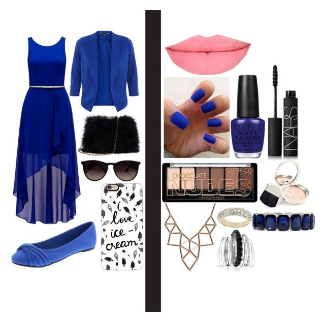 """""""MY FAV COLOR IS BLUE"""" by laurengrid on Polyvore featuring Forever New, Ray-Ban, Casetify, OPI, NARS Cosmetics, By Terry, Chicnova Fashion, Topshop, Avenue and Monet"""