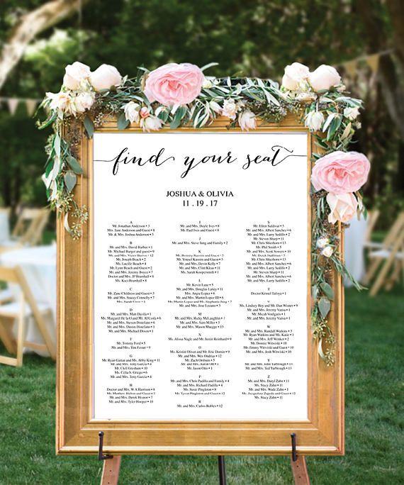 Wedding Seating Chart Seating Chart Ideas Wedding Reception