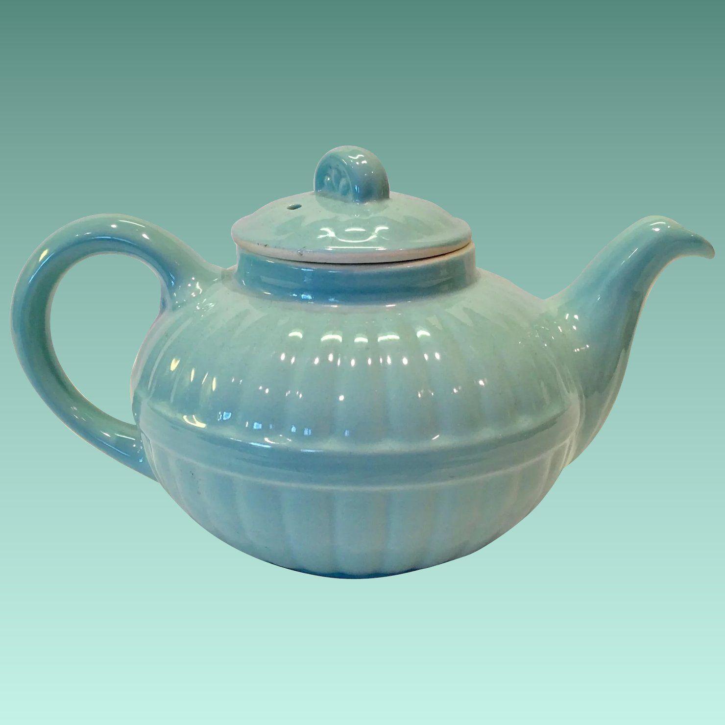 Hall China 1940s Light Blue Murphy Teapot Victorian Series Tea Pots Vintage Dinnerware Bone China Tea Cups