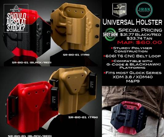 Should AirSplat Stock? - Universal Holster in Black/Red or Tan