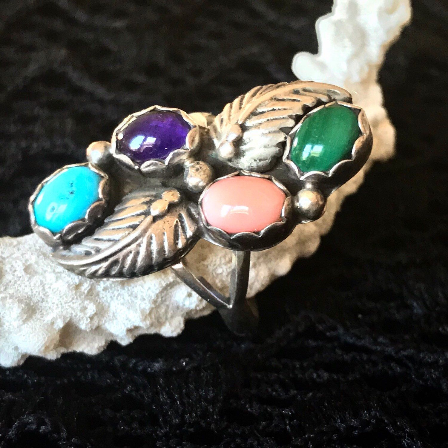 925 Sterling Vintage Multi Turquoise and Mother of Pearl Cuff Bracelet 6 34