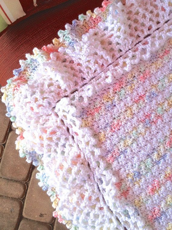 Handmade Crochet Baby Blanket, SuperbSoft Triple Ruffle Blanket ...