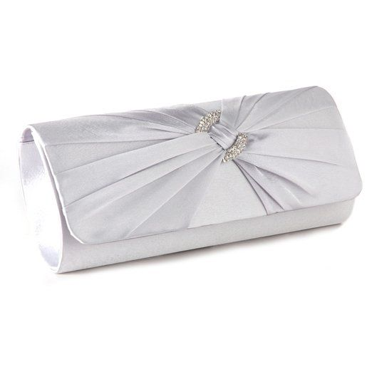 7bcb9a3830f Satin Diamante Pleated Evening Clutch Bag BRIDAL WEDDING PARTY PROM 9  Colours (Silver)