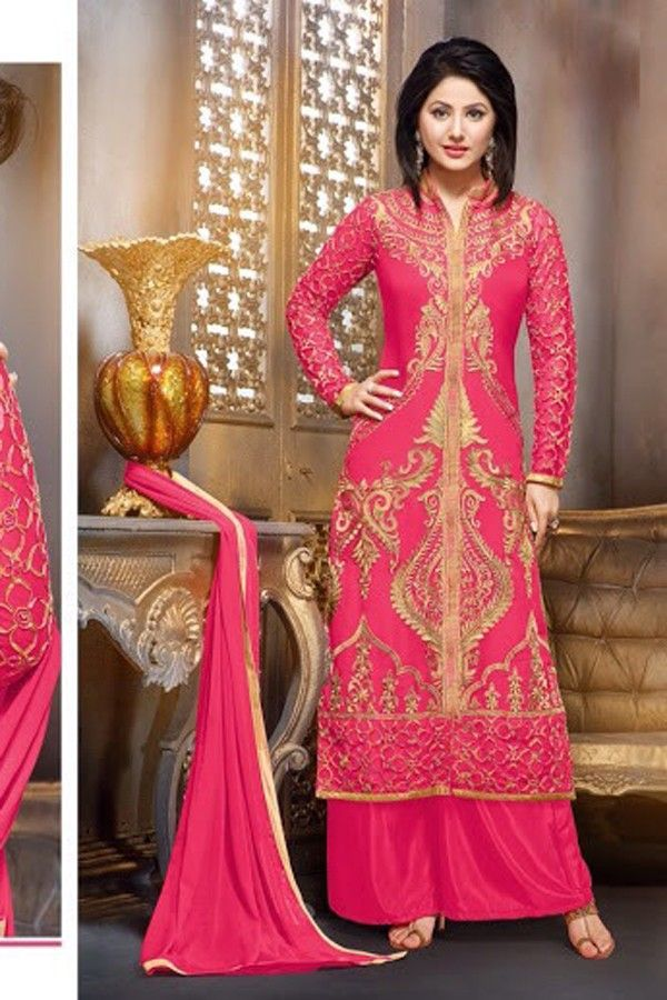 Hina Khan - Pink Faux Georgette Salwar Kameez with Embroidered and Lace Work - Z2588P55010-c-40