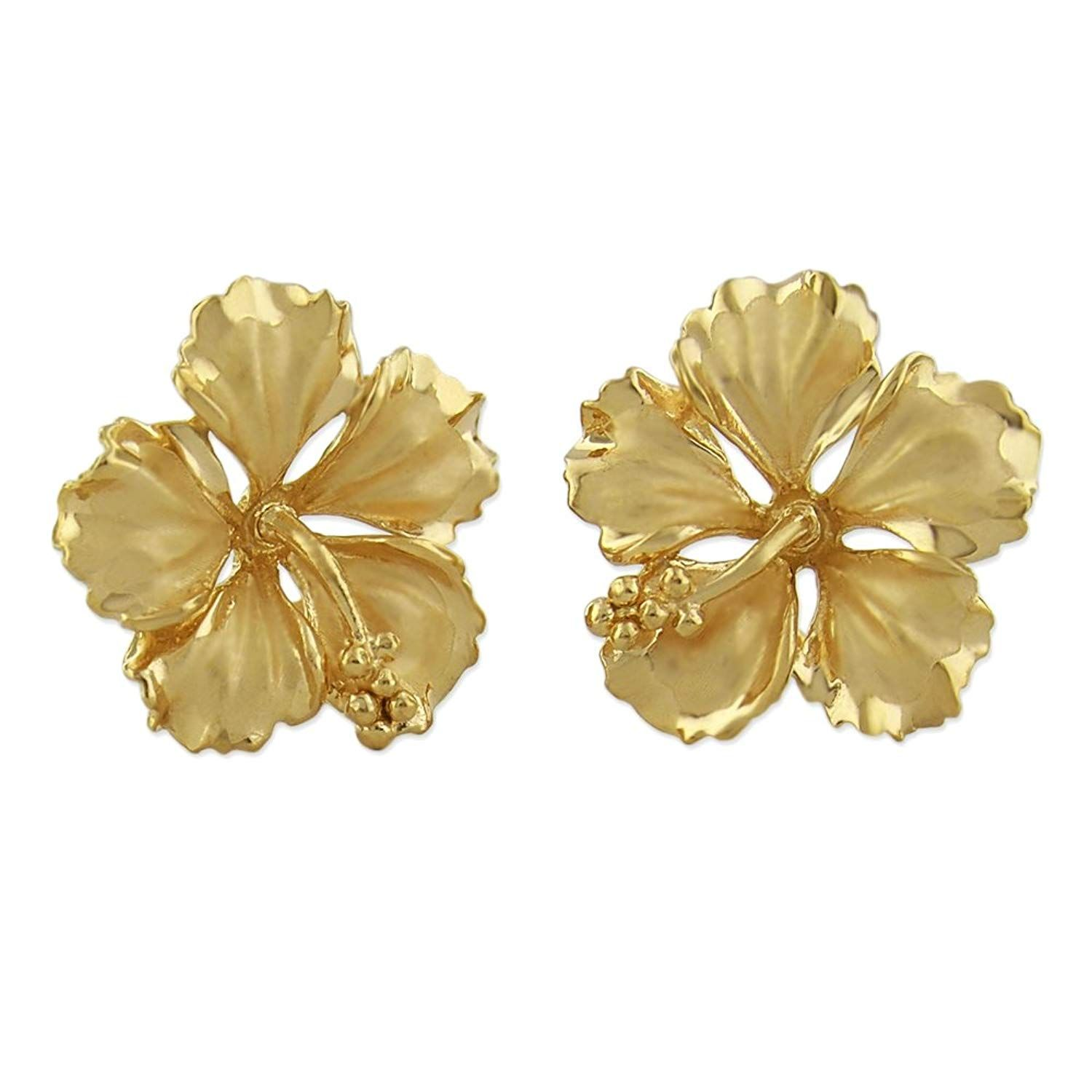 14kt Yellow Gold Plated Sterling Silver 5 8 Inch Hibiscus Stud Earrings Very Kind Of You To Have Sterling Silver Earrings Studs Stud Earrings Gold Ear Jacket