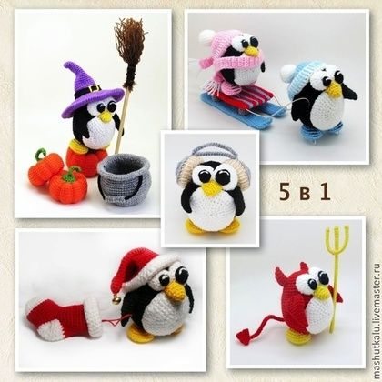 5 в 1 мк пингвины вязаная игрушка крючком мастер класс описание