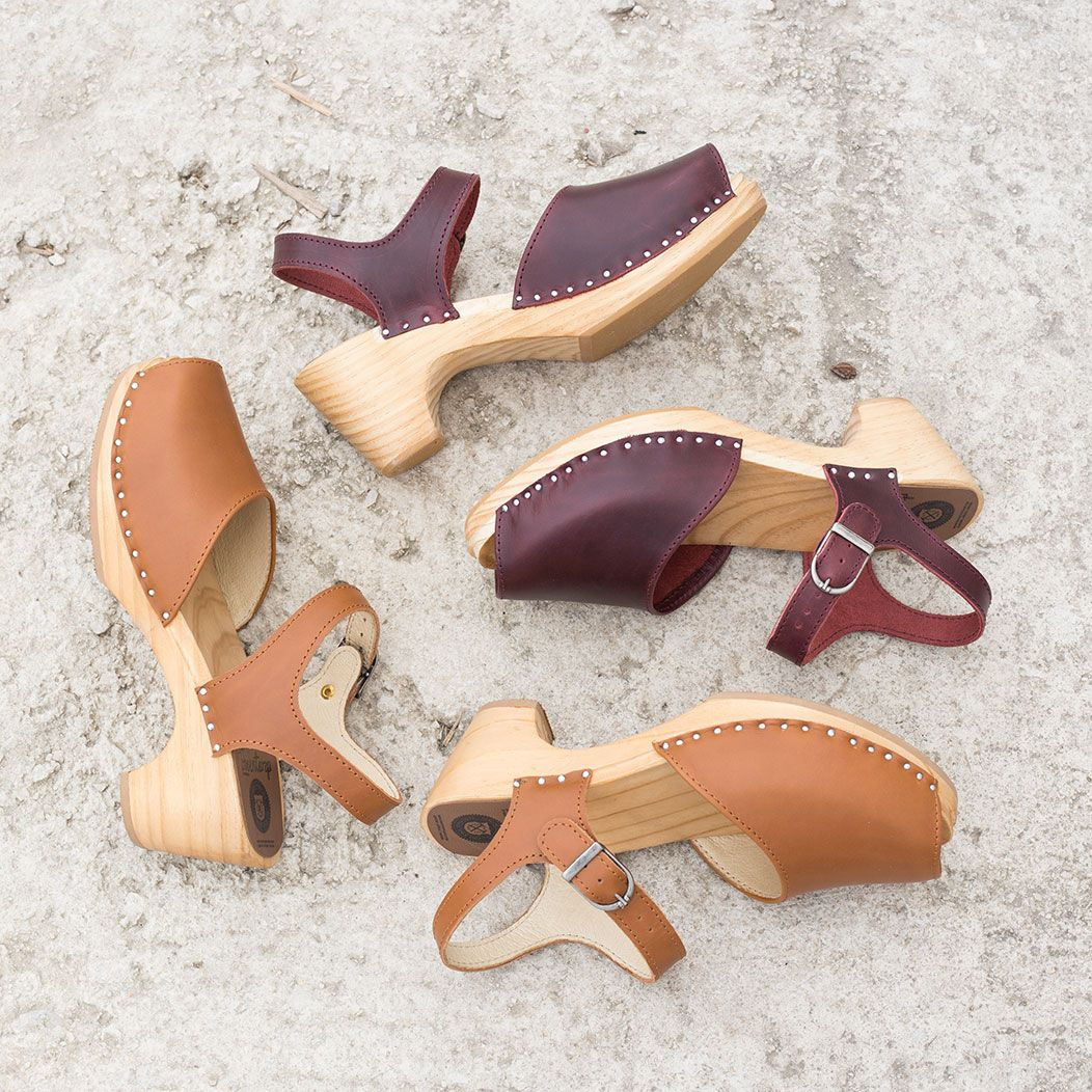 0df1d4448e8 Tina clogs sandals in bordeaux pull-up leather and light brown  Troentorp   swedishclogs