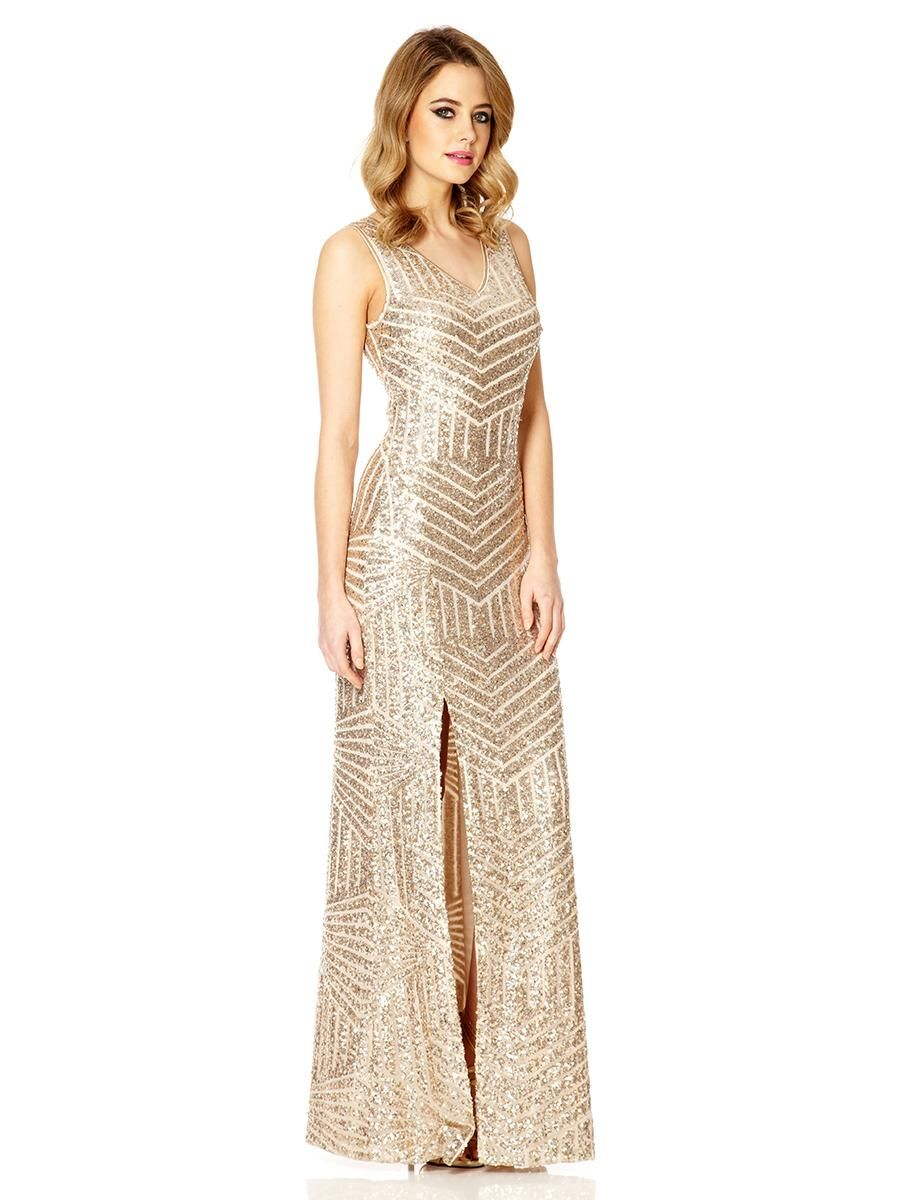 2dafea78182 Champagne Sequin Zig Zag Split Maxi Dress - Quiz Clothing ...