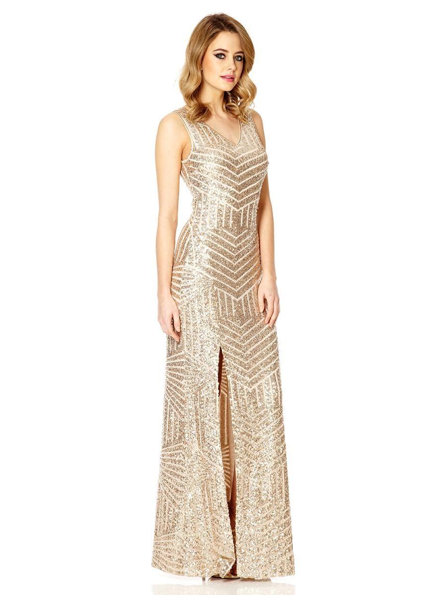 Champagne Sequin Zig Zag Split Maxi Dress - Quiz Clothing ...