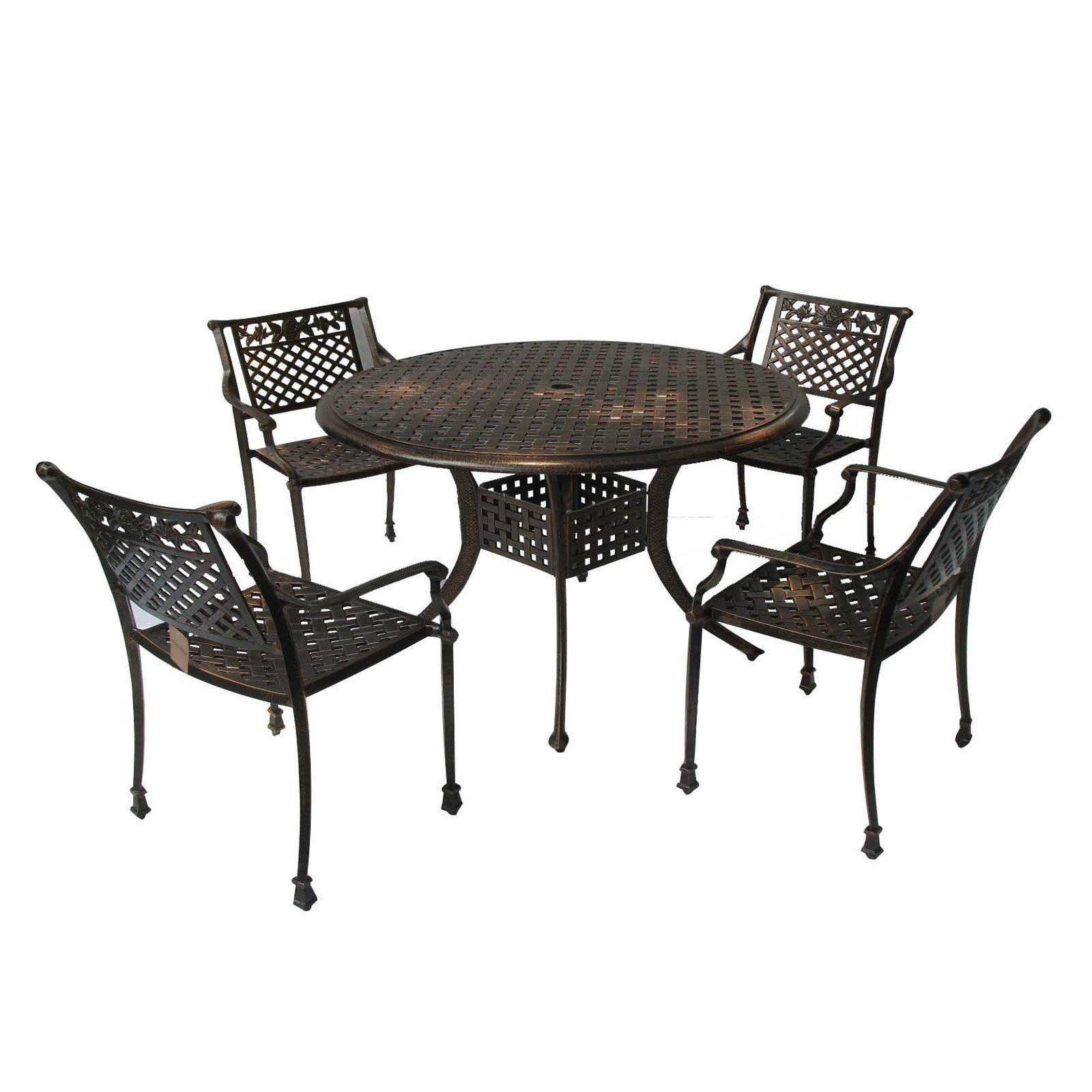 Cast Aluminum Antique Copper Outdoor Patio Dining Set Cheap
