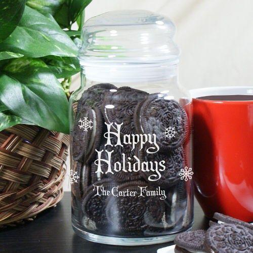 Personalized Happy #Holidays Glass Jar