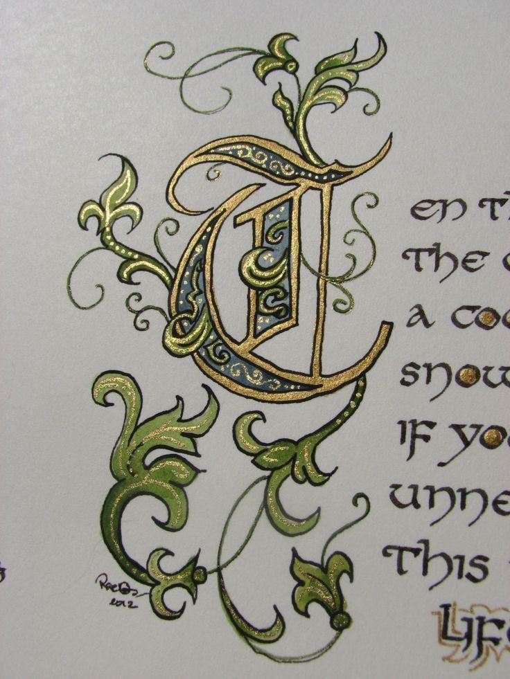Capital T Calligraphy : capital, calligraphy, Illustrated, Calligraphy, Capital, Letter, Illuminated, Letters,, Illumination