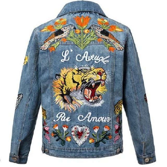 women vintage tiger embroidered denim jacket tiger patches women's autumn winter coat oversized vintage print jeans oversize