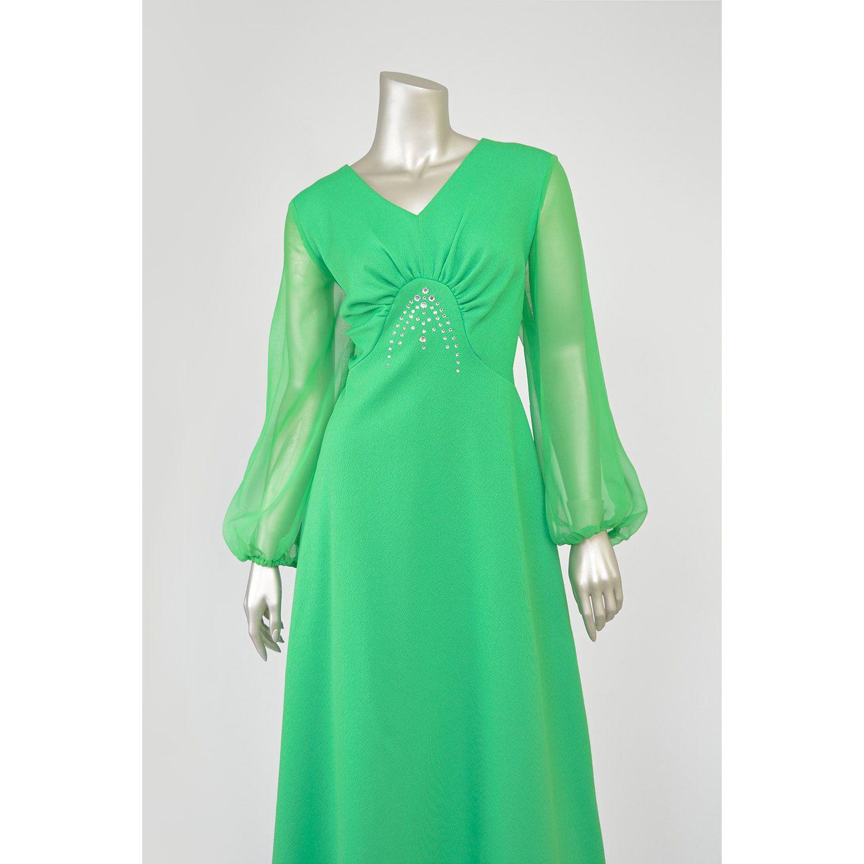 Vintage s maxi dress mod evening gown long green dress w