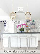 Photo of Kitchen island lighting ideas and height diagrams for kitchen lighting kitchen …