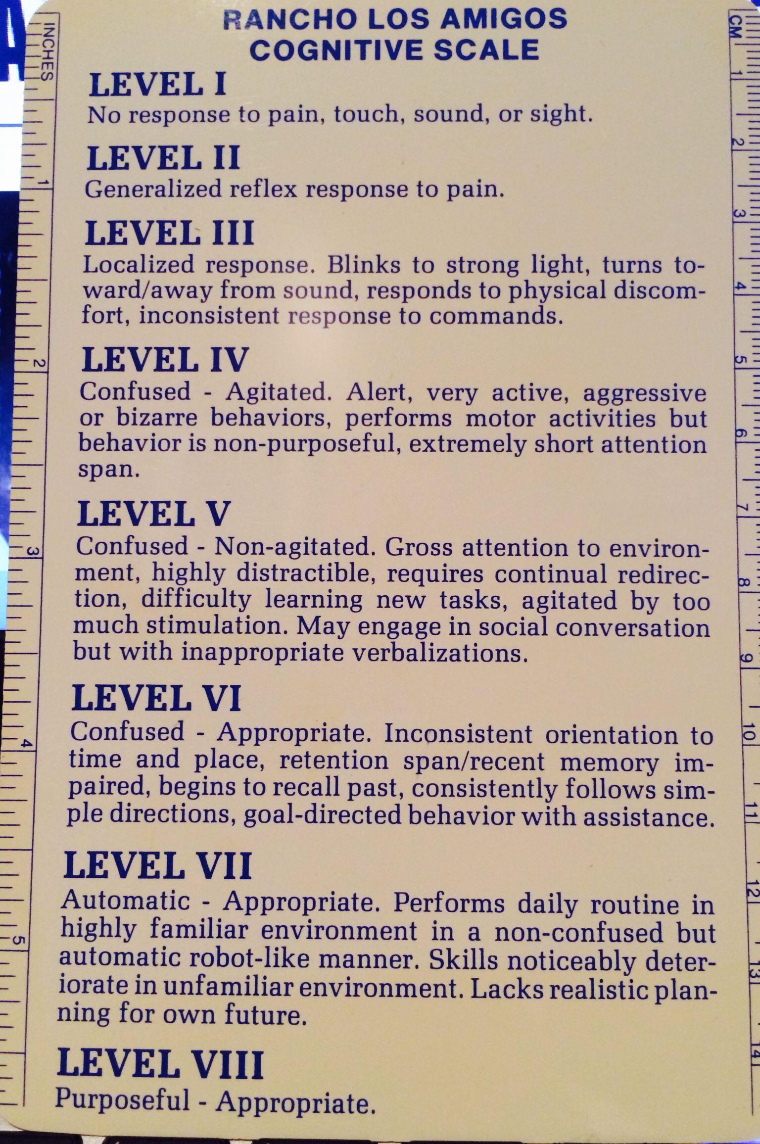 Ranchos Los Amigos Cognitive Scale Levels 1 8