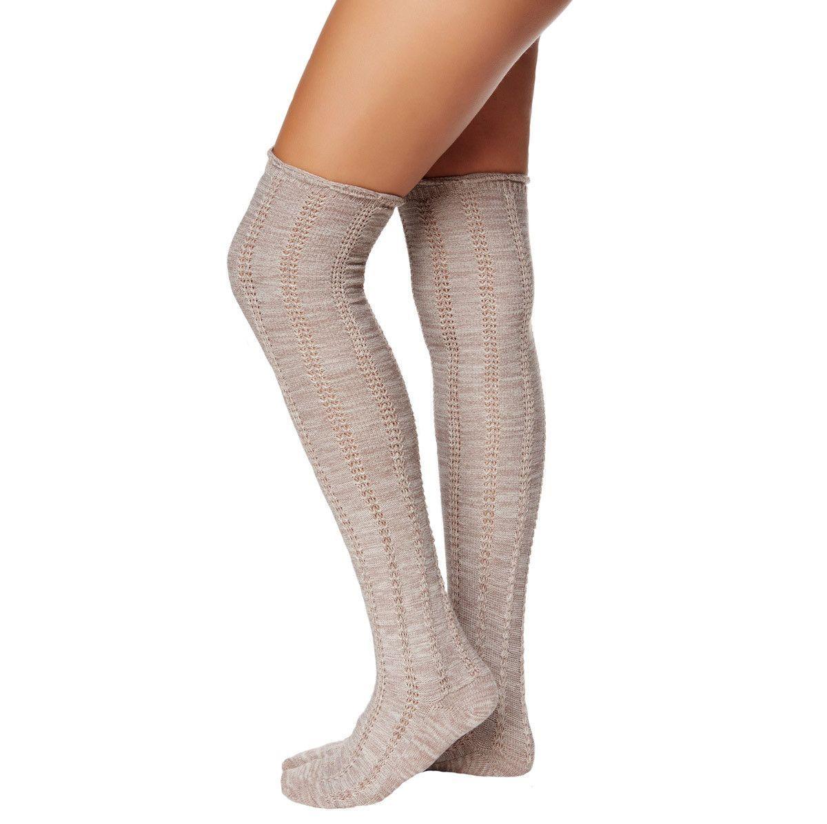 Thigh High Frayed Oatmeal Socks