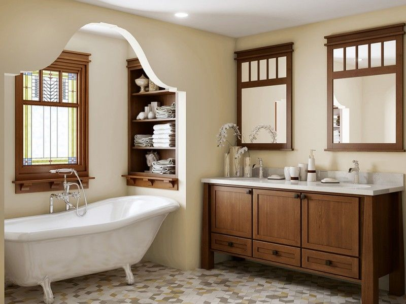 Mission Style Bathroom Dark Hardwood Bathroom Vanity With White