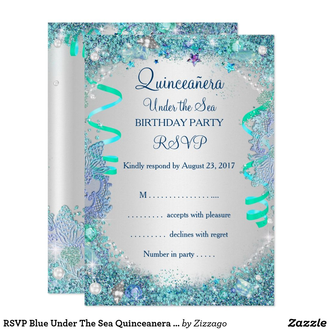RSVP Blue Under The Sea Quinceanera 15th Birthday | { Happy Birthday ...